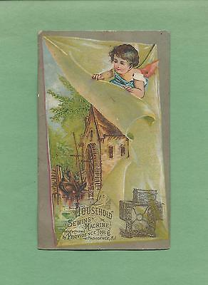Cute ANGEL, OLD MILL On HOUSEHOLD SEWING MACHINES Victorian Trade Card