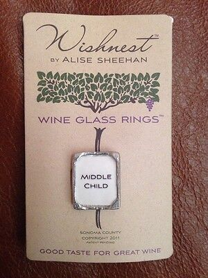 Wishnest By Alise Sheehan Wine Glass Ring Charm Middle Child Silver
