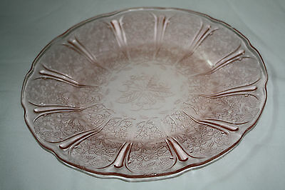 "Set of 4 Pink Depression Glass Etched Dinner Plates 9"" diameter"