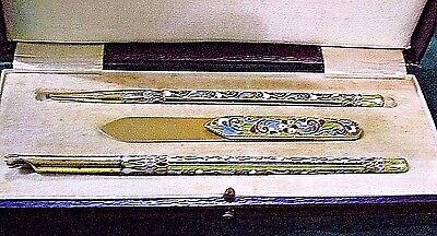 UNIQUE RUSSIAN ENAMEL SILVER 84  DESK SET  3 PCS ST PETERSBURG 1910s  REDUCED