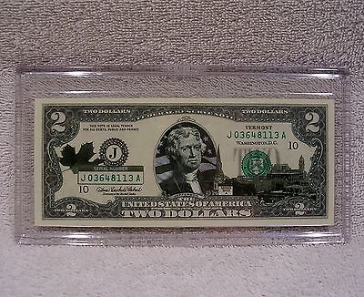 Vermont  $2 Two Dollar Bill - Colorized State Landmark - Uncirculated Authentic