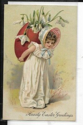 early easter greetings postcard made in germany young girl with giant egg