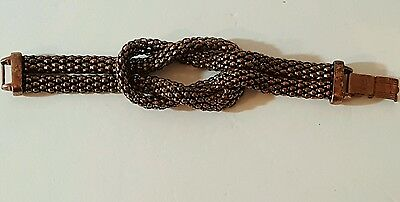 Beautiful chunky runway show stopper copper mesh link knot bracelet