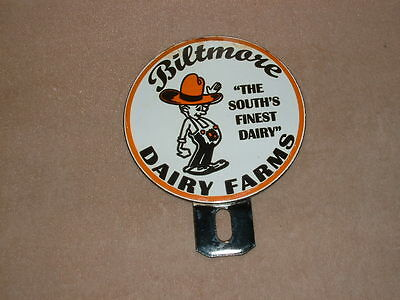 Biltmore Dairy Farms South's Finest Porcelain Advertising License Plate Topper