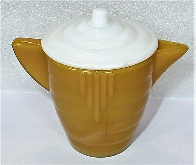 Akro Agate Small Concentric Ring / Stacked Disc Yellow Teapot With White Lid