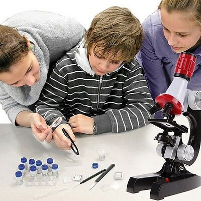 Microscope Kit Lab LED 100X-1200X Home School Educational Toy Gift For Kids Boys