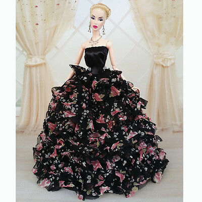 Black Wedding Gown Dresses Clothes Party For Princess Barbie Doll Xmas