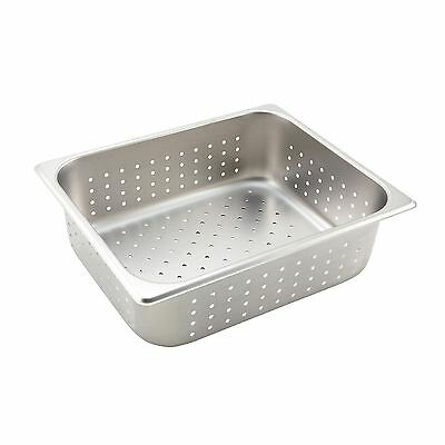 """Winco SPHP4 Steam Table Pan, Half Size, 4"""" Deep, Perforated, Stainless Steel"""