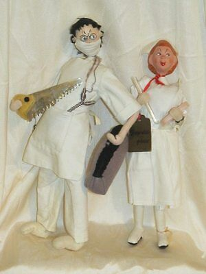 Vintage Klumpe Style Doctor & Nurse, Accessories, Saw & Mask, Character Dolls
