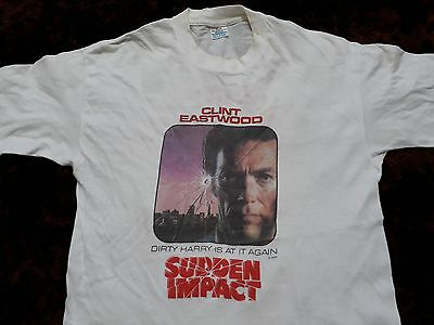 Vtg 1984 Sudden Impact T-Shirt Clint Eastwood Action Thriller Movie Film Promo