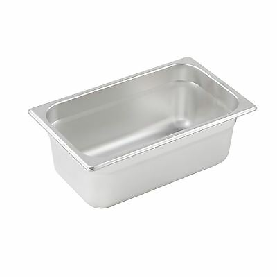 "Winco SPJL-404 Steam Table Pan, 1/4 Size, 4"" Deep, Standard Weight S/S"
