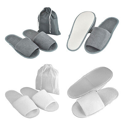 5/10 Pair Foldable Towelling Disposable Slippers Hotel Travel Spa Open Toe Shoes