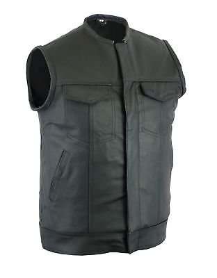 Men's SOA Style Concealed carry Collarless Motorcycle Biker MC Club Leather Vest