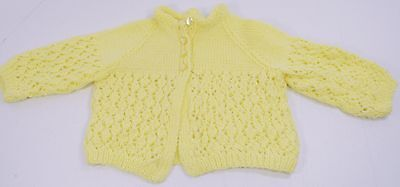 Vintage Baby Sweater Yellow Hand Knit 6 mo