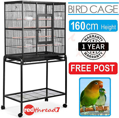 Bird Cage Parrot Budgie Canary Aviary Stand Castor Wheels Shelf Black 160cm Pet