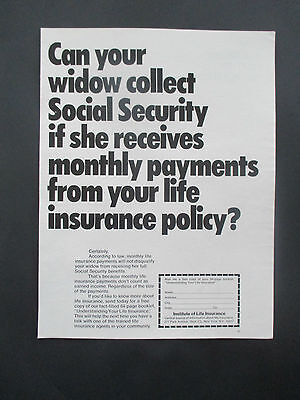 """Vintage 1972 Institute of Life Insurance Print Ad, 13.25"""" X 10.125"""""""