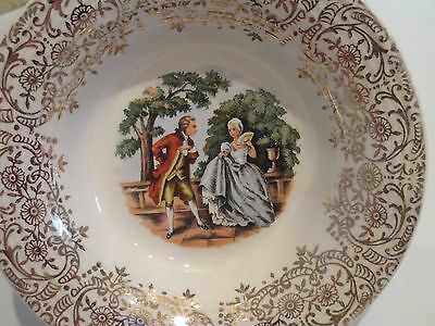 HARKER POTTERY BERRY BOWLS Godey Prints Court Yard Colonial Couple 22kt Gold