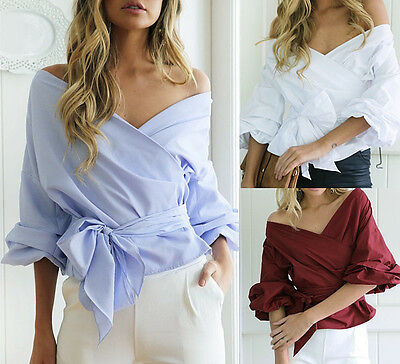 Fashion Women V-neck Off Shoulder Work Office Tops T-shirt Blouse Clothes Party