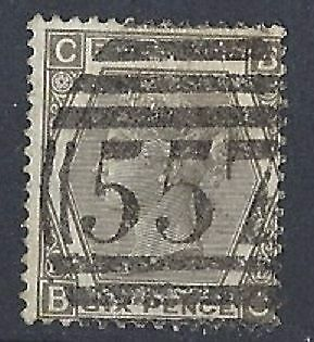 G.B. Queen Victoria.Very Fine Used SG 125 6d grey Plate 12 Cat Value £275