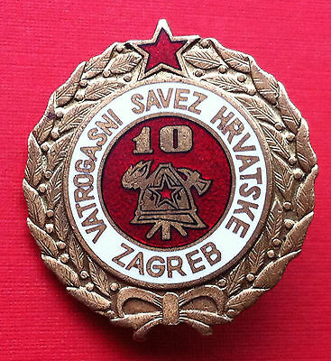 Croatia badge 10 year service Firefighting - medal Yugoslavia SFRJ - rarre !