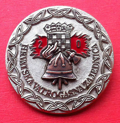Croatia Hrvatska badge 20 year service Firefighting - Firemen very rare badge !