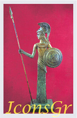 Ancient Greek Bronze Museum Statue Replica Athena Wth Shield & Spear Collectable