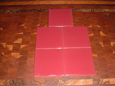 vintage wall tiles romany 5 nos 4 1/4x 4 1/4  tiles in burgundy glossy tile