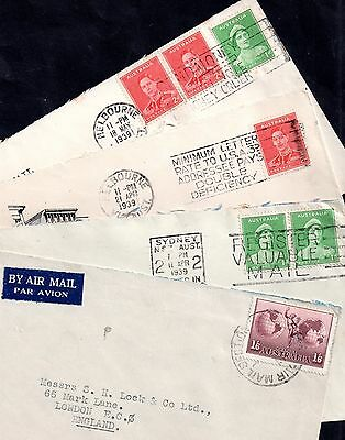 Australia KGVI 4 postal history covers (Air etc.) JB100