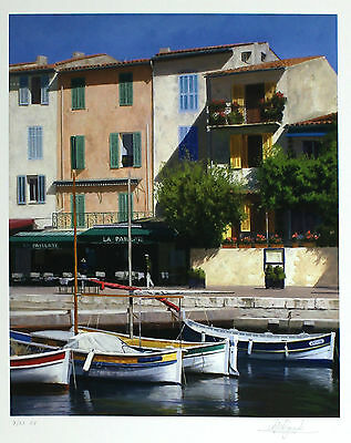 "PETER SYMONDS ""Quayside Caf?"" boats RARE ARTIST'S PROOF SIZE:47cm x 40cm NEW"