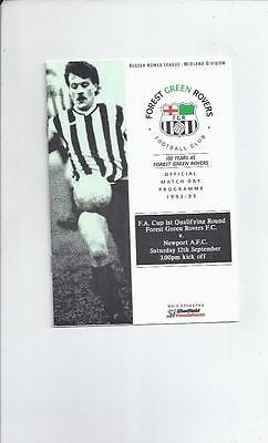 Forest Green Rovers v Newport AFC FA Cup Football Programme 1992/93