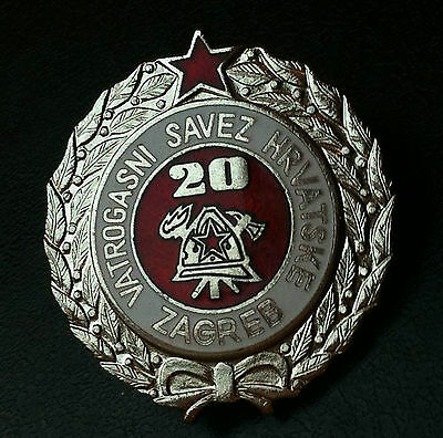 Croatia badge - 20 year service Firefighting - rarre medal Yugoslavia SFRJ !