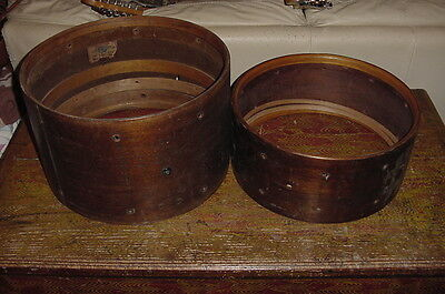 "TWO MAHOGANY DRUM SHELLS #see photos#  SOLD AS A PAIR 15"" by 7"" AND 16"" by 10"""