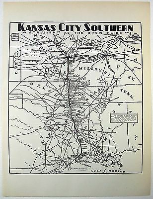Original 1937 Kansas City Southern Railway System Map
