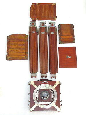 Antique Old Plate Vintage Wooden Camera Carl Zeiss Jena Lens With Plates & Stand