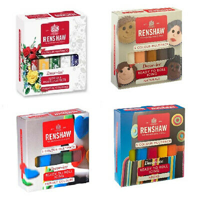 Renshaw Ready To Roll Cake Icing Multi 5x 100g Pack Colour Sugarpaste Decorating