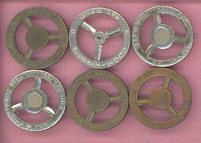 1920s ? Odom Wiggens Tokens - 6 each, Chicago Illinois