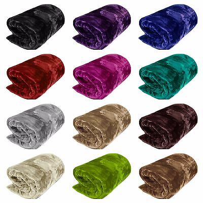 Luxury Super Soft Faux Fur Fleece Mink Blanket Sofa Bed Throw Double, King Size