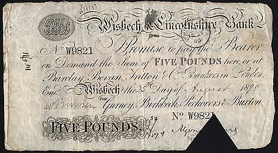 1890 WISBECH & LINCOLNSHIRE BANK £5 BANKNOTE * W 9821 * F * Outing 2382q *