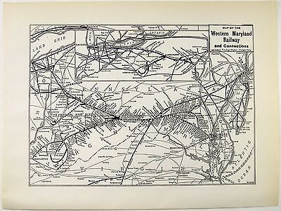 Original 1937 Western Maryland Railway System Map