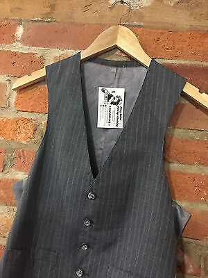 "VINTAGE MEN'S WAISTCOAT GREY PINSTRIPE SMART (vw9) CHEST 36"" 37"" / SIZE SMALL"