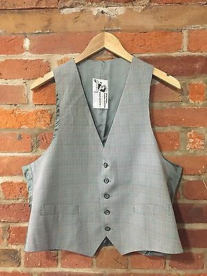 "VINTAGE MEN'S WAISTCOAT BLACK WHITE RED HOUNDSTOOTH CHECK vw10) CHEST SIZE 42"" L"