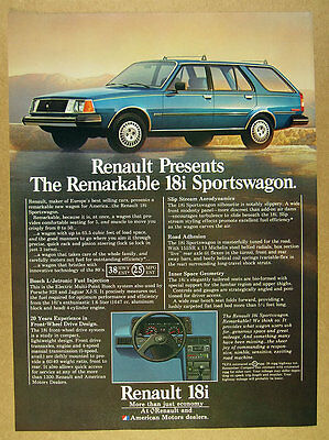 1981 Renault 18i Sportswagon blue wagon car photo vintage print Ad