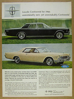 1966 Lincoln Continental Sedan & Coupe color photos vintage print Ad