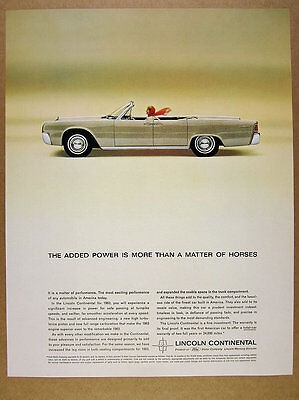 1963 Lincoln Continental Convertible beige car color photo vintage print Ad