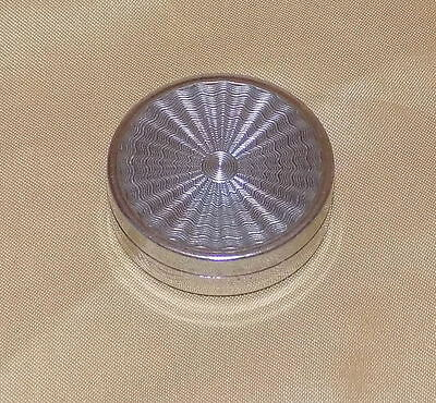 """Vintage Art Deco French """"white metal"""" Engine Turned Cheramy France Pill Box"""