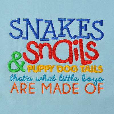 Embroidered Quilt Block Panel SNAKES & SNAILS  100% Cotton Blue Fabric Makower