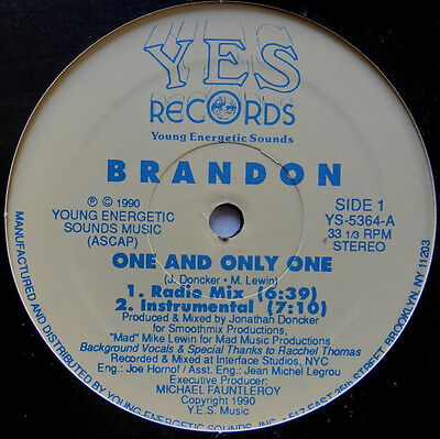 "12"" Us**brandon - One And Only One (Yes Records '90)***22520"