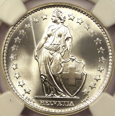 1965-B Switzerland 2 Franc 2F Coin - NGC MS65!