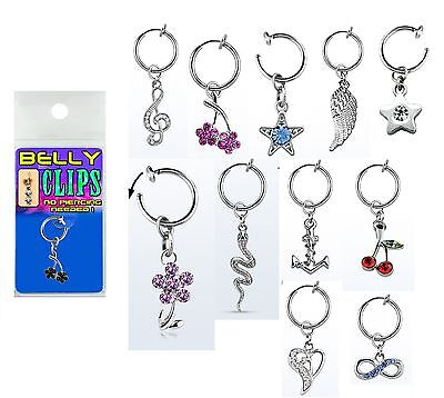 6 Belly clips,good selection non piercing fake illusion body jewellery navel bar