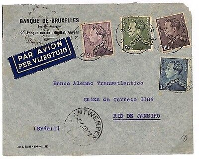 L98 1940 Belgium to Brazil by Air Mail, Banking
